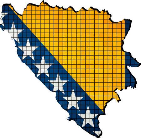 bosnian: Bosnia and Herzegovina map with flag inside, Abstract Mosaic flag of Bosnia and Herzegovina,  Bosnian grunge mosaic map