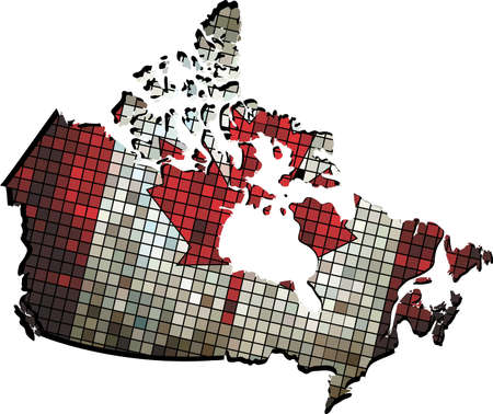 canadian flag: Canada map with flag inside, Canadian flags and map in mosaic,   Abstract grunge mosaic vector Illustration