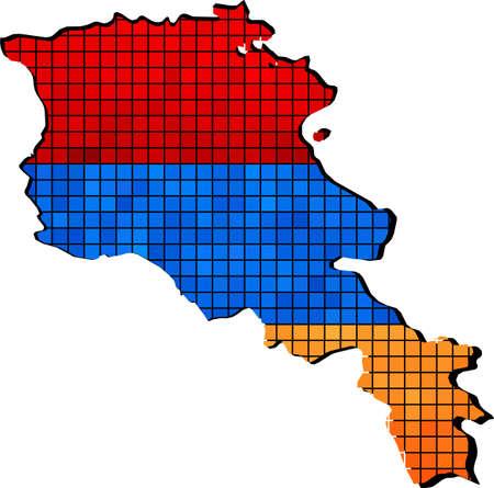 Armenia map with flag inside, Armenia map grunge mosaic,  Grunge Armenia flag and map,  Map of Armenia - Armenian national Flags,  Armenia Map On Armenia Flag Drawing, grunge And mosaic Flag,  Armenian Flags in mosaic