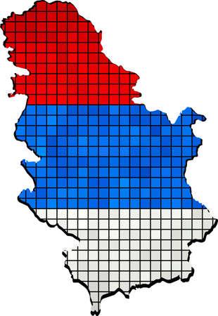 serbien: Serbien-Karte mit Fahne innerhalb, Vektor-Karte von Serbien Karte von Serbien - Serbien Nationalflagge, Serbien Auf Serbien-Flaggen-Zeichnung, Grunge und Mosaik Flagge, serbischen Flaggen in Mosaik