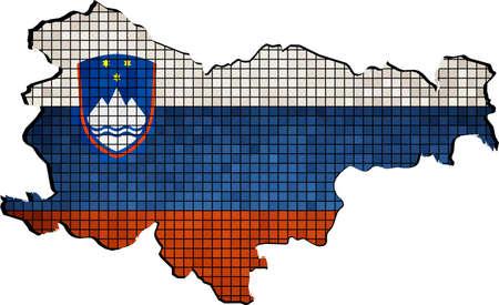 slovenian: Slovenia map with flag inside, Slovenia map grunge mosaic,  Vector Map of Slovenia,  Slovenian Flags in mosaic, Abstract grunge mosaic vector