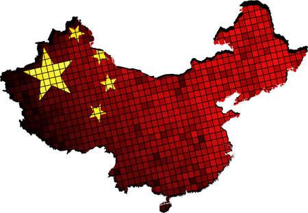 chinese map: China mapa con bandera dentro, Mapa de China - bandera nacional de China, La bandera nacional china y mapa de China, Mosaico abstracto Grunge bandera de China