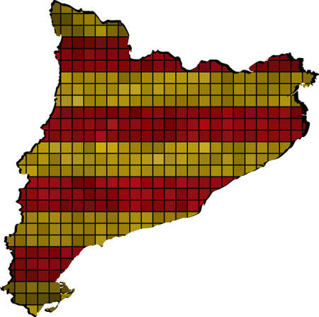 Catalonia map with flag inside, Vector map of the autonomous community of Catalonia,  Catalonian flags and map,  Abstract Mosaic Grunge Catalonia Flag