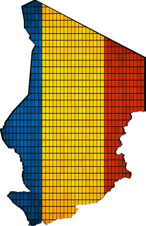 chadian: Chad map with flag inside, Abstract Mosaic Flag and map of Chad,  Chad grunge mosaic flag