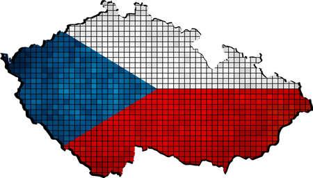 czech flag: Repubblica Ceca Mappa di bandiera all'interno, Vector Mappe di Repubblica ceca, astratta Mosaico Grunge Bandiera della Repubblica Ceca