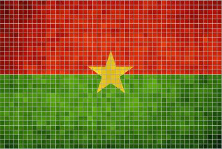 burkina faso: Abstract mosaic flag of Burkina Faso,  The National flag of Burkina Faso, Burkina Faso grunge mosaic flag