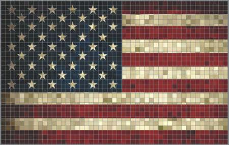 Abstracte Mozaïek vlag van de Verenigde Staten, USA vlag foto's en vector, USA grunge mozaïek vlag Stockfoto - 37707819