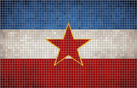 Abstract Mosaic flag of Yugoslavia,  Flag of the Yugoslav stat, Yugoslavia grunge mosaic flag