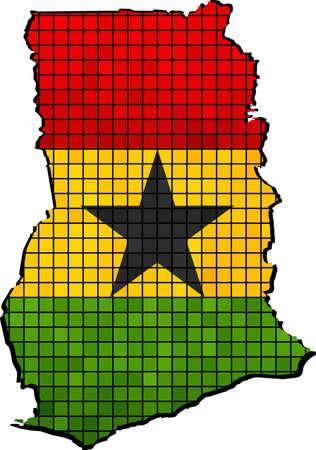 ghana: Ghana map with flag inside, Abstract Mosaic Flag and map of Ghana,  Ghana grunge mosaic flag