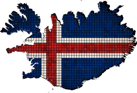 Iceland map with flag inside,  Iceland map grunge mosaic,   Abstract Mosaic Grunge Icelandic Flags,  Abstract grunge mosaic vector