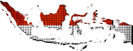 archipelago: Indonesia map with flag inside,  Abstract Indonesian map & Flag of Indonesia,  Abstract grunge mosaic vector