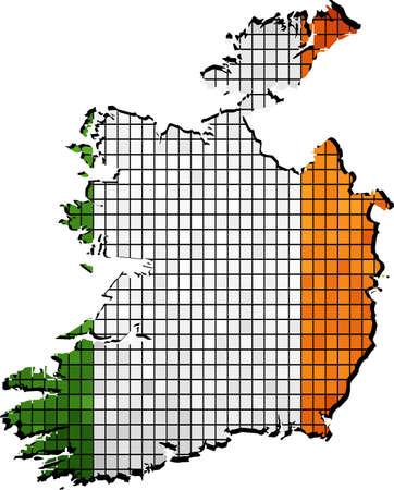 republic of ireland: Ireland map with flag inside,  Mosaic Flag of the Irish republic,  The national flag & map of Ireland,  Abstract Mosaic Grunge Ireland Flag