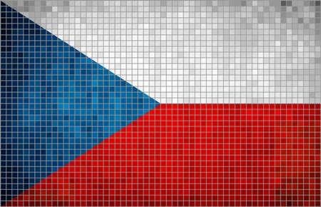 czech flag: Abstract Mosaic Flag of Czech Flag of the Czech Republic,  Abstract grunge mosaic vector