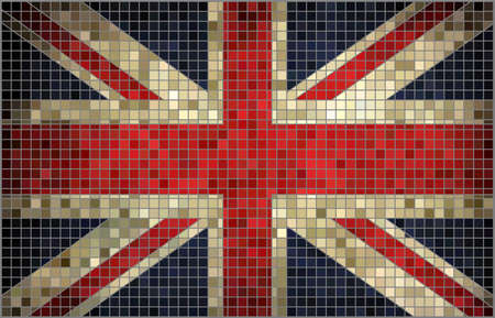 rnabstract: Abstract mosaic flag of Great Britain,  Abstract Mosaic flag of United Kingdom,  Grunge mosaic vector Illustration