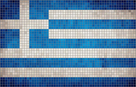 rnart: Abstract Mosaic Flag of Greece, The National flag of Greece,  Grunge mosaic vector Illustration