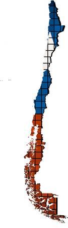 bandera chilena: Chile mapa con la bandera en el interior abstracto Mosaico banderas chilenas y mapear Chile grunge bandera de mosaico