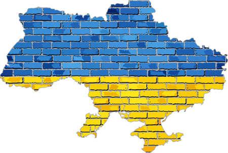 irish map: Ukraine map on a brick wall,  Grunge map and flag of Ukraine on a brick wall,  Ukraine map with flag inside,  Ukraine map painted on brick wall,  Ukrainian flag in brick style