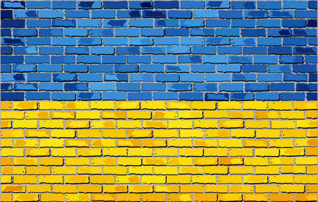 textured wall: Grunge flag of Ukraine on a brick wall, Ukrainian flag on brick textured background,  Flag of Ukraine painted on brick wall, Flag of Ukraine in brick style