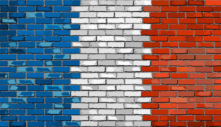 Grunge flag of France on a brick wall, French flag on brick textured background,  Flag of France painted on brick wall, Flag of France in brick style Ilustrace