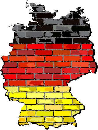 deutschland: Germany map on a brick wall,  Grunge map and flag of Deutschland on a brick wall,  Germany map with flag inside,  Germany map painted on brick wall,  Germany flags in brick style Illustration