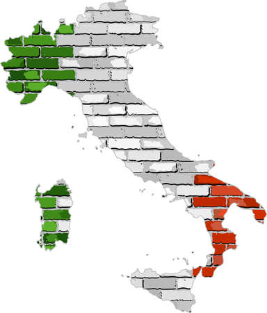 Italy map on a brick wall,  Grunge map and flag of Italy on a brick wall,  Map of the Italian Republic with flag inside,  Italy map painted on brick wall,  Flag of Italian Republic in brick style