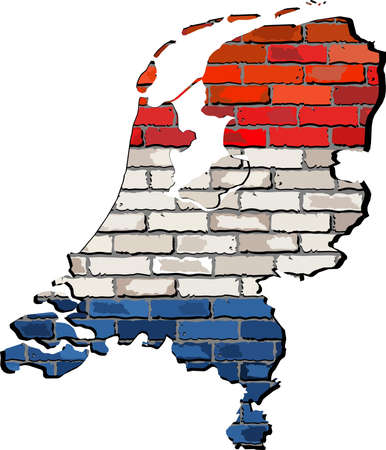 netherlands map: Netherlands map on a brick wall,  Grunge map and flag of Netherlands on a brick wall,  Netherlands map with flag inside,  Netherlands map painted on brick wall,  Netherlands flags in brick style Illustration