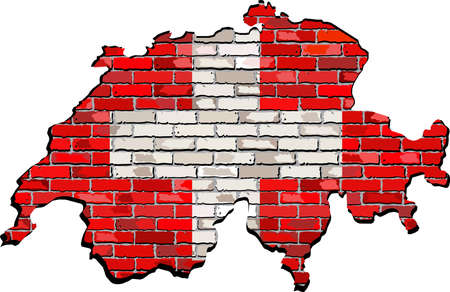 swiss flag: Switzerland map on a brick wall,  Grunge map and flag of Switzerland on a brick wall,  Switzerland map with flag inside,  Switzerland map painted on brick wall,  Swiss flags in brick style Illustration