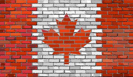 canadian flag: Grunge flag of Canada on a brick wall, Canada Flag on brick textured background,  Canadian flags painted on brick wall, Canada flag in brick style Illustration