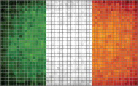 republic of ireland: Abstract Mosaic Flag of Ireland,  The National flag of Ireland,  Abstract grunge mosaic vector,  Flag of the Irish republic.