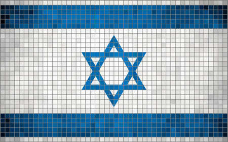 magen: Abstract Mosaic flag of Israel,  The National flag of Israel, Abstract grunge mosaic vector. Illustration
