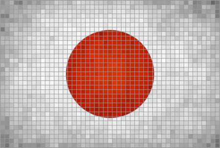 ephemera: Abstract Mosaic flag of Japan,  The National flag of Japan,   Japanese flag graphics,  Grunge mosaic vector.