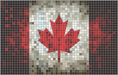 canadian flag: Abstract Mosaic flag of Canada,  Canadian Flags pictures and vector,  Canada grunge mosaic flag Illustration