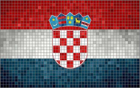 Abstract Mosaic Flag of Croatia, Croatia Grungy Flag,   Croatian Flags,   Abstract grunge mosaic vector Ilustracja