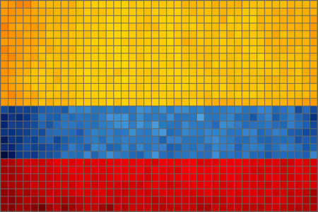 absract: Absract Mosaic Flag of Colombia,  Colombian Flag in Mosaic, Colombian National Flag,  Grunge Flag of Colombia,  Abstract grunge mosaic vector. Illustration
