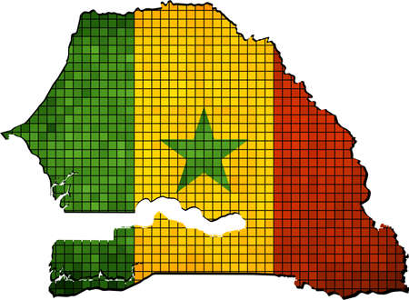 senegal: Senegal map with flag inside,  Map with Senegalese flag inside, Abstract Mosaic Senegal flags and map,  Senegal grunge mosaic flag