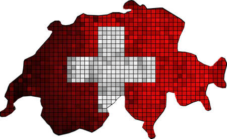 Switzerland map with flag inside,  Map of Switzerland - Swiss national flag,  Mosaic Flag of Switzerland,  The national flag  map of Switzerland,  Abstract Mosaic Grunge Switzerland Flag,  Abstract grunge mosaic vector.