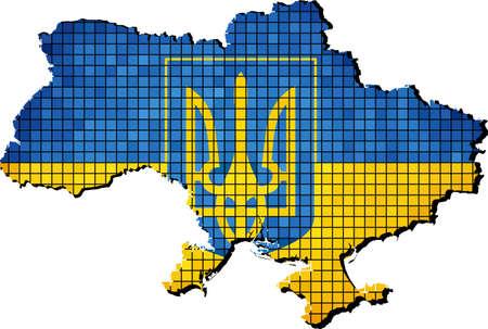 ukraine: Ukraine Coat of Arms with flag inside, Ukraine Symbol,  Ukraine map grunge mosaic, Map of Ukraine with national flag inside,   Grunge mosaic vector.