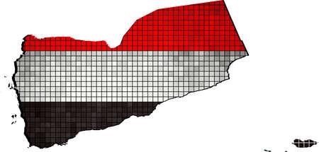 yemen: Yemen map with flag inside, Abstract Mosaic Flag and map of Yemen,  Yemen grunge mosaic flag