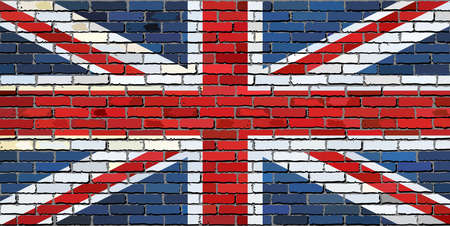 Grunge flag of Great Britain on a brick wall, United Kingdom national flag on brick textured background,  Flag of Great Britain painted on brick wall, Flag of United Kingdom in brick style