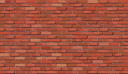 赤レンガの壁、レトロな赤レンガの壁ベクトル、シームレスな現実的な白いレンガの壁、レンガの壁背景、抽象的なベクトルの図。