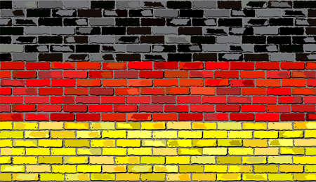 deutschland: Grunge flag of Germany on a brick wall, Deutschland flag on brick textured background,  Flag of Germany painted on brick wall, Flag of Germany in brick style