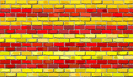 Grunge flag of Catalonia on a brick wall, Catalan national flags on brick textured background,  Catalonias flag painted on brick wall, Catalonian flag in brick style Illustration