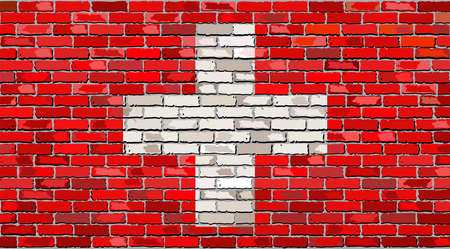 swiss flag: Grunge flag of Switzerland on a brick wall, Swiss flag on brick textured background,  Flag of Switzerland painted on brick wall, Flag of Switzerland in brick style