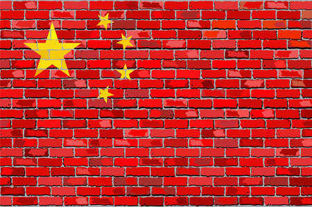 textured wall: Grunge flag of China on a brick wall, Chinese flags on brick textured background,  China flag painted on brick wall, China flag in brick style