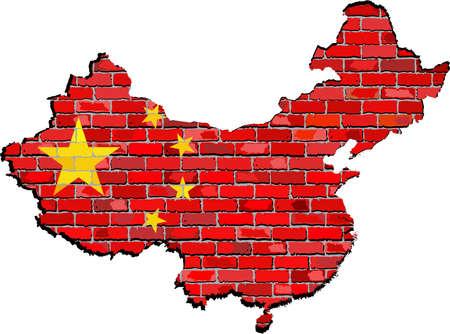 mapa de china: China, mapa en una pared de ladrillo, la correspondencia de China con la bandera en el interior, mapa Grunge y bandera de China en una pared de ladrillo, banderas chinas en el estilo de ladrillo Vectores