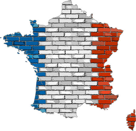 french flag: France map on a brick wall, Grunge map and flag of France on a brick wall,  Map of the France with flag inside,  French map painted on brick wall,  Flag of France in brick style Illustration