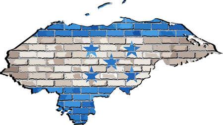 Honduras map on a brick wall,  Honduras's map with flag inside,  Grunge map and Hondurasian national flag on a brick wall,  Honduras flag in brick style