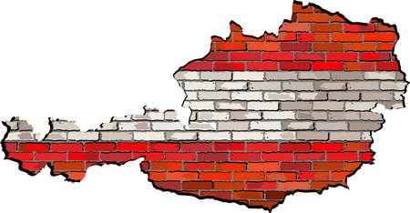 austria map: Austria map on a brick wall,  Grunge map and flag of Osterreich on a brick wall,  Austria map with flag inside,  Austria map painted on brick wall,  Austrian flags in brick style