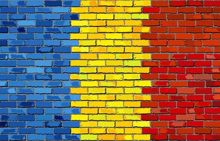 Grunge flag of Romania on a brick wall, Romania Flag on brick textured background,  Romanian flags painted on brick wall, Romania flag in brick style