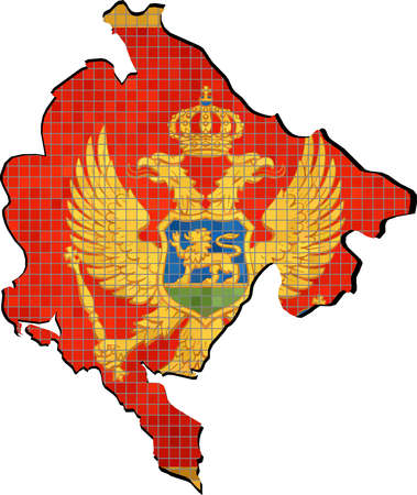 montenegro: Montenegro map with flag inside, Montenegro map grunge mosaic, Montenegrin flag in mosaic,  Abstract grunge mosaic vector